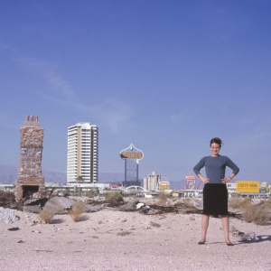 Denise Scott Brown outside Las Vegas in 1966; photograph from the Archives of Robert Venturi and Denise Scott Brown